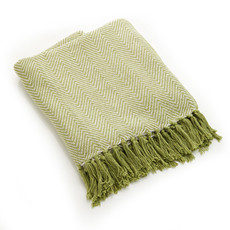 Serrv Cotton Rethread Green Chevron Throw Blanket