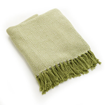 Serrv Cotton Rethread Green Chevron Throw Blanket