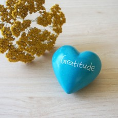 Venture Imports Soapstone Word Heart Rock