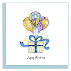 Quilling Card Balloon & Present Quilled Birthday Card