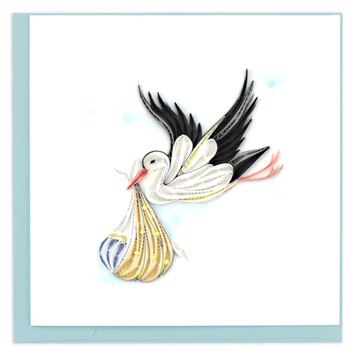 Quilling Card Special Delivery Stork Congratulations Card
