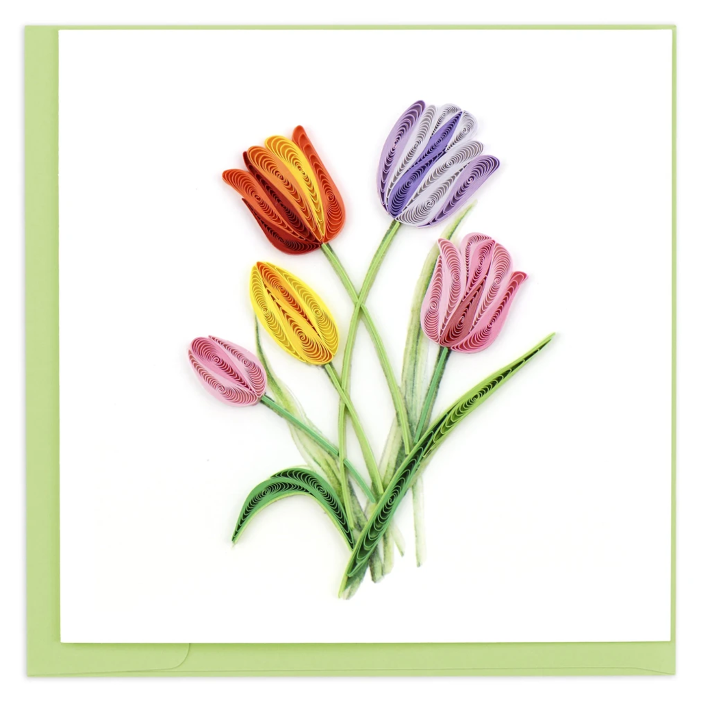 Quilling Card Colorful Tulips Quilled Card
