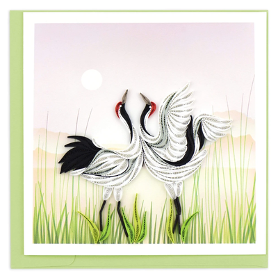 Quilling Card Whooping Cranes Greeting Card