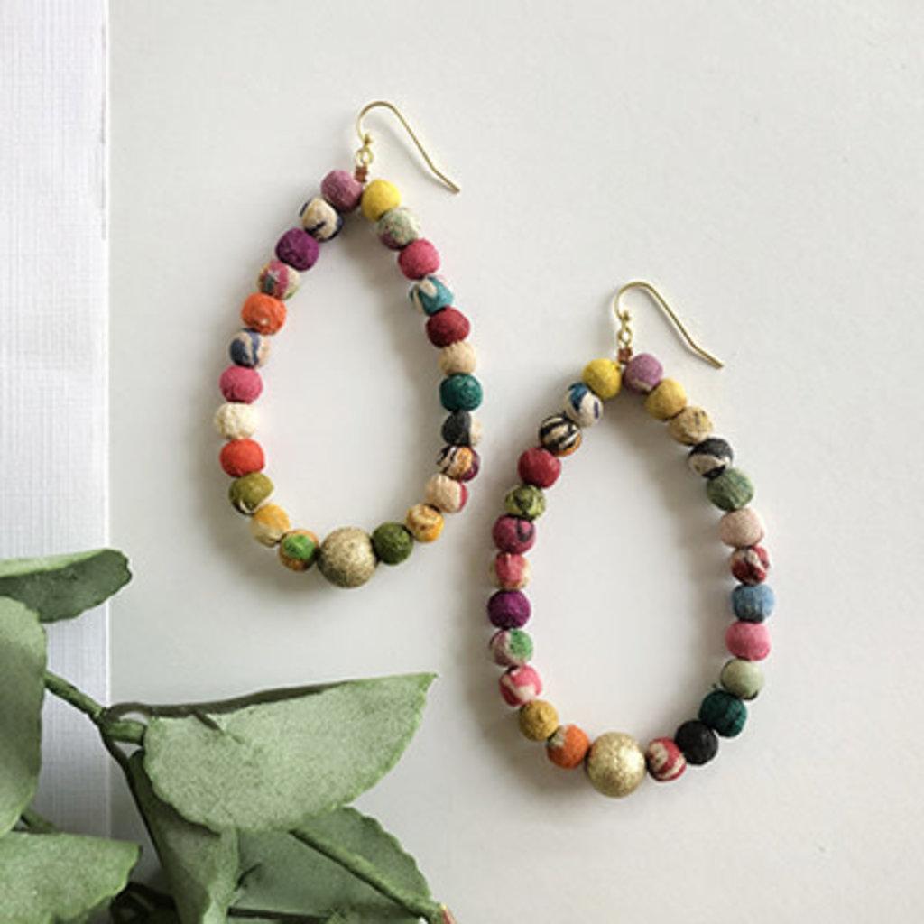 World Finds Kantha Luna Drop Earrings