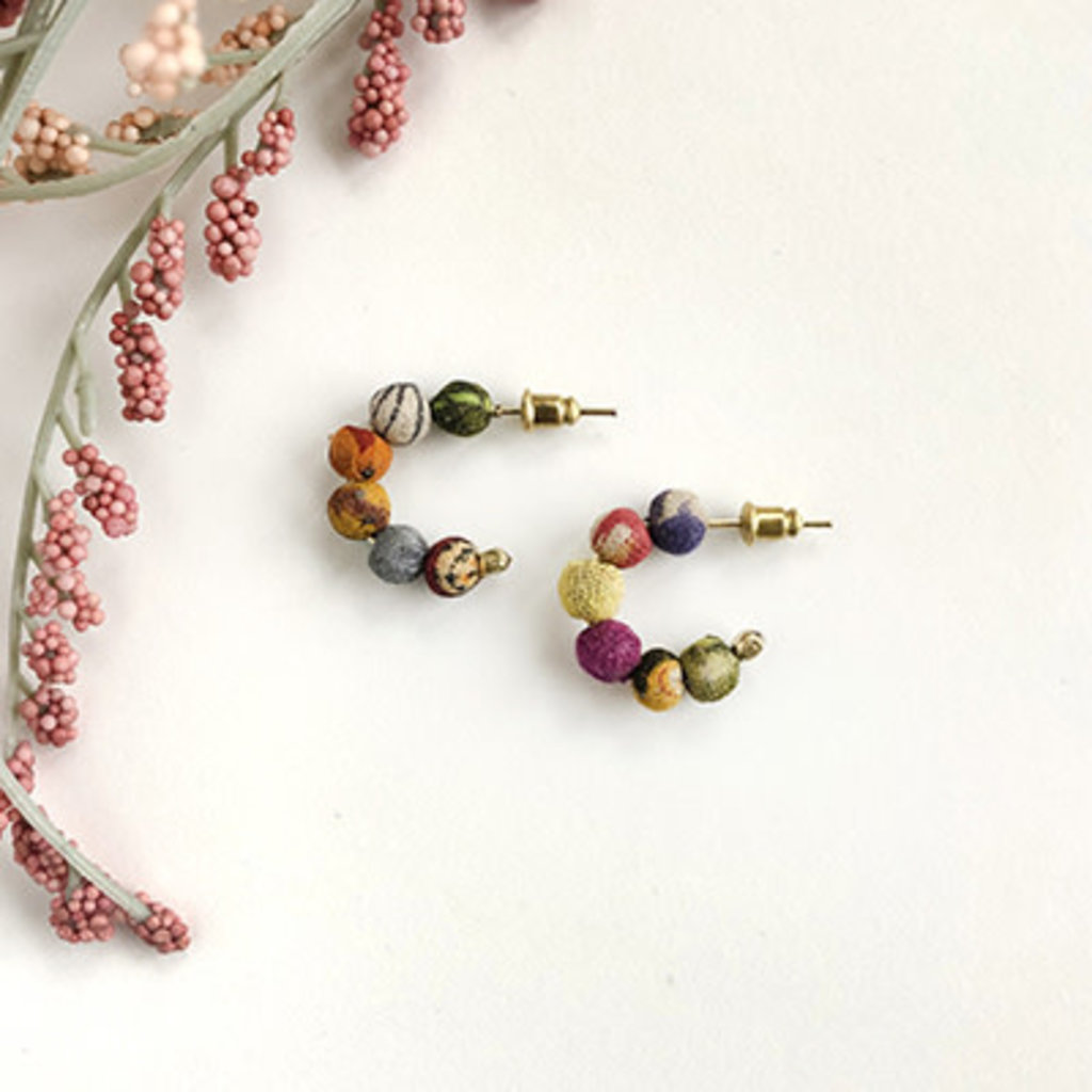World Finds Kantha Tiny Hoop Earrings