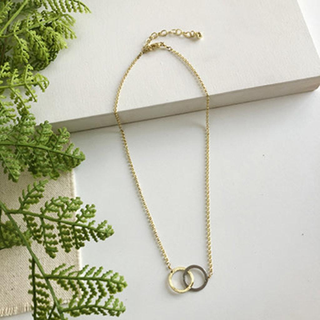 World Finds Interlinked Brushed Metal Necklace