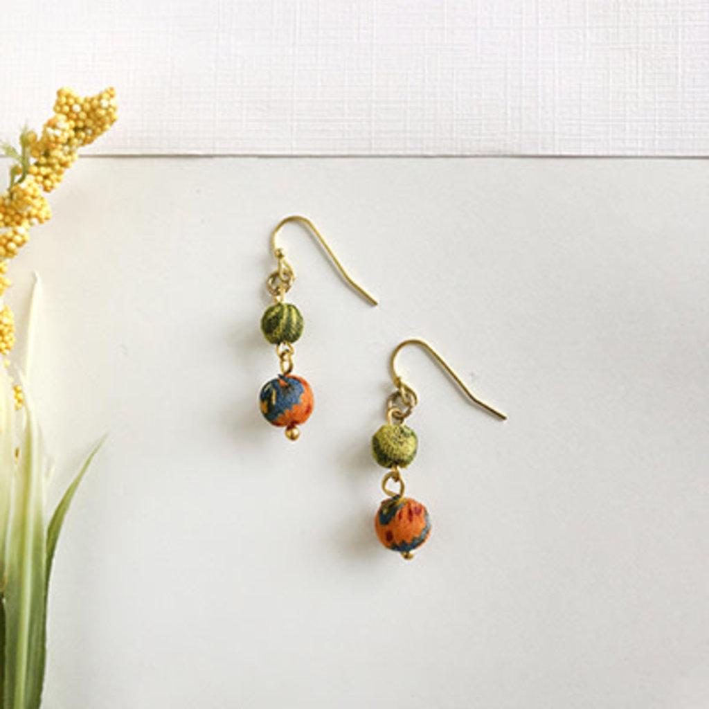 World Finds Kantha Double Drop Earrings