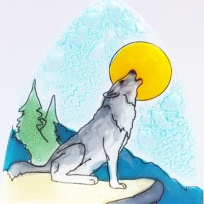PamPeana Wolf Howl Fused Glass Night Light