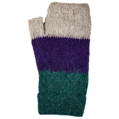 Andes Gifts Tres Alpaca Wrist Warmers: Purple