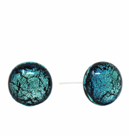 Global Crafts Round Glass Blue/Black Stud Earrings