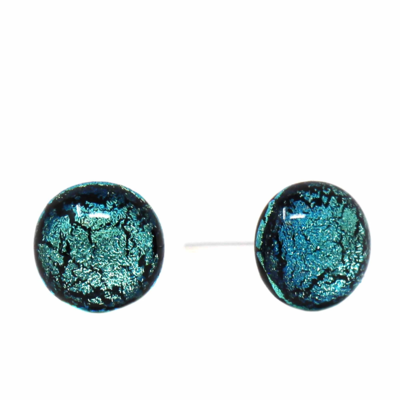 Global Crafts Round Glass Blue/Black Stud Earrings