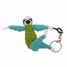 Unique Batik Sloth Deluxe Beaded Keychain