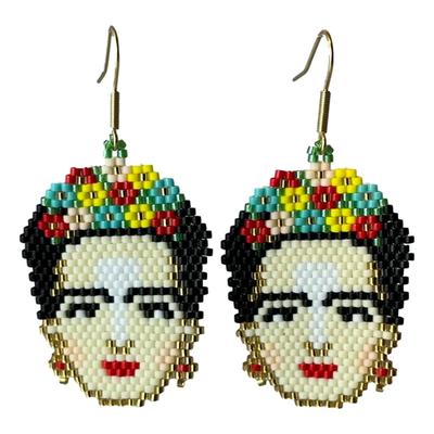 Tulia's Artisan Gallery Frida Kahlo Glass Bead Earrings