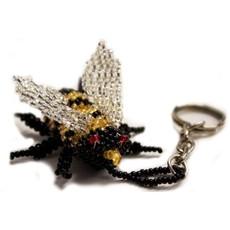 Unique Batik Bumblebee Beaded Keychain