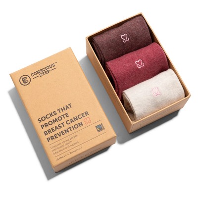 Conscious Step Solid Socks that Prevent Breast Cancer Gift Box