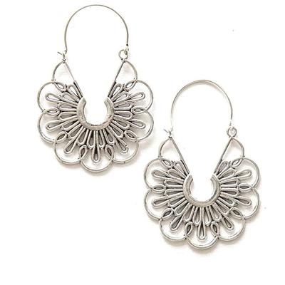 Fair Anita Flora Hoop Earrings Silver