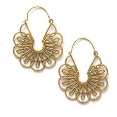 Fair Anita Flora Hoop Earrings Brass