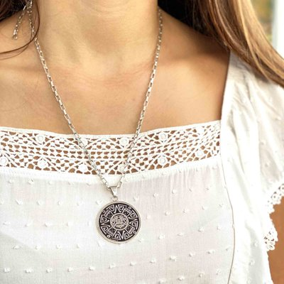 Global Crafts Alpaca Silver Aztec Face Pendant