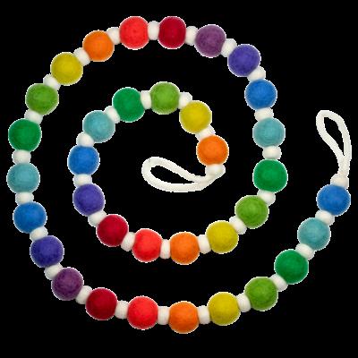 DZI Handmade Festive Rainbow Felted Wool Garland