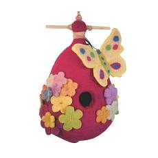 DZI Handmade Purple Butterfly Felted Wool Birdhouse