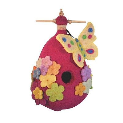 DZI Handmade Purple Butterfly Felted Wool Birdhouse