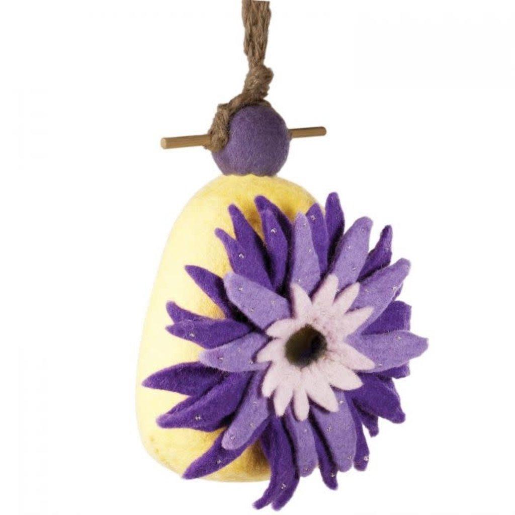DZI Handmade Dahlia Flower Felted Wool Birdhouse