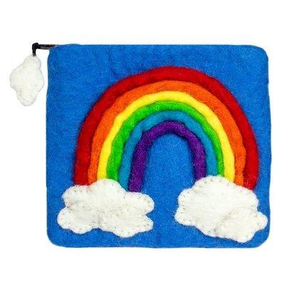 DZI Handmade Rainbow Felted Wool Coin Purse