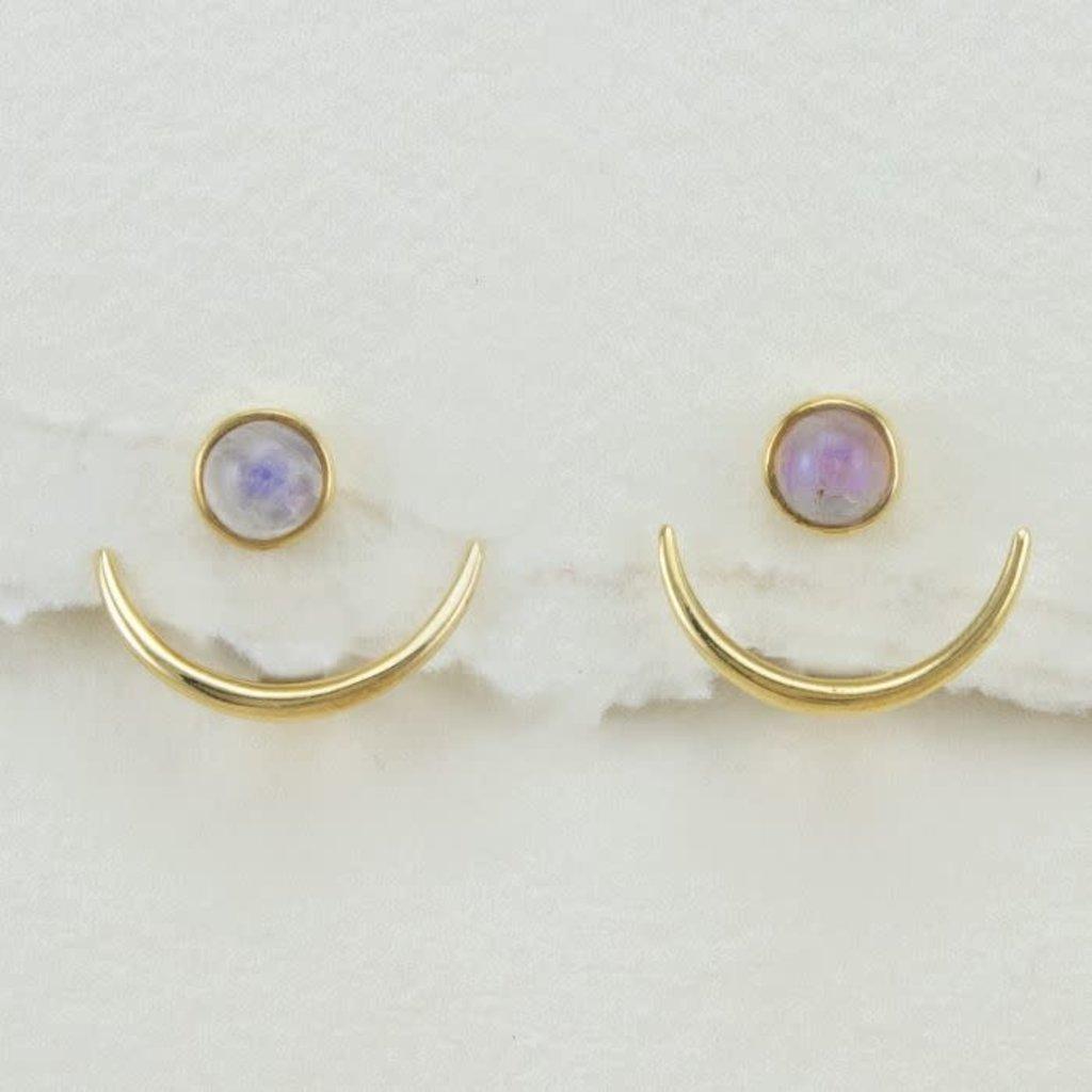 DZI Handmade Healing Crescent Moonstone Earrings