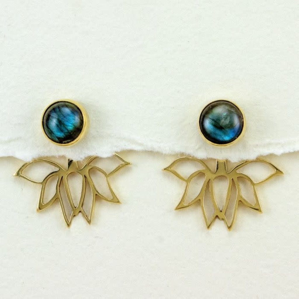 DZI Handmade Lotus Perfection Labradorite Earrings