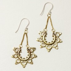 DZI Handmade Radiant Petal Brass Earrings