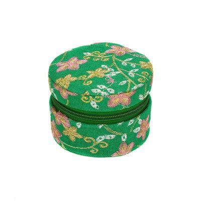 Minga Imports Small Zippered Jewelry Box Green