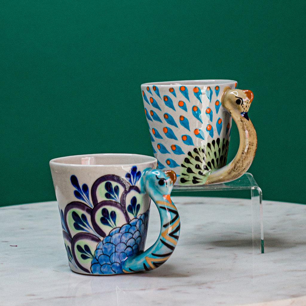 "Lucia's Imports Guatemalan Pottery Peacock Mug ""Pavo Real"""