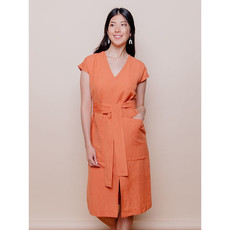 Mata Traders Darjeeling Pocket Dress Amber Linen