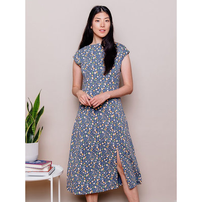 Mata Traders Elise Sheath Dress Blue Dots