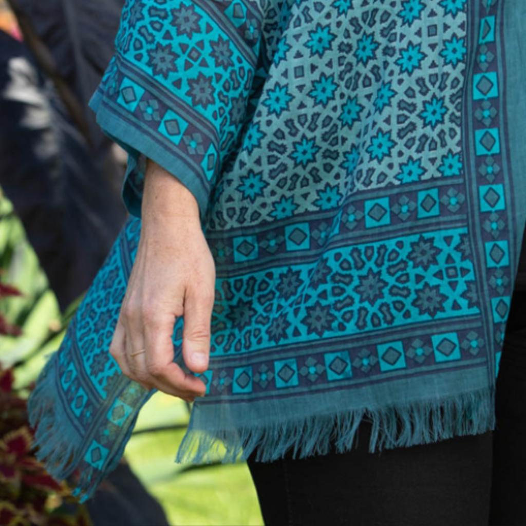 Serrv Blue Starburst Cotton Blockprint Kimono