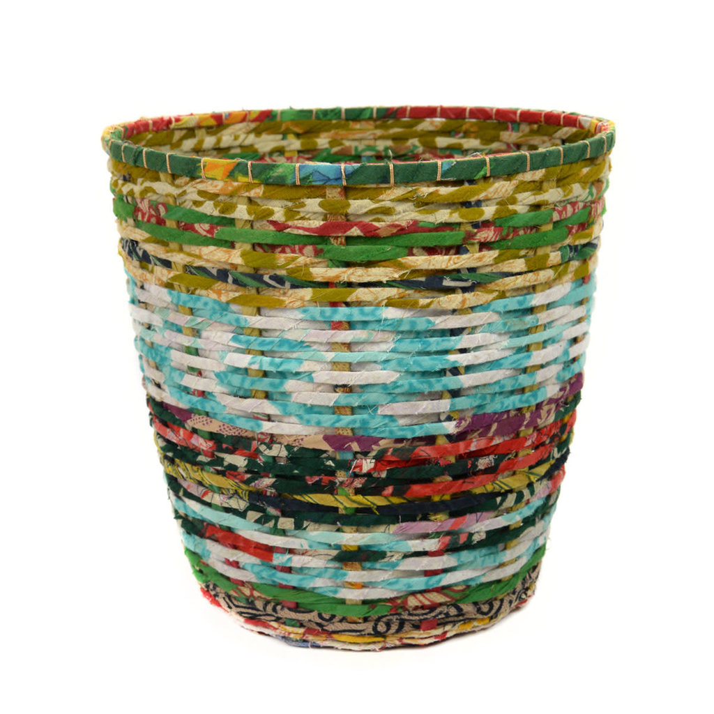 Minga Imports Recycled Sari Waste Basket