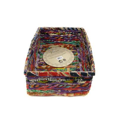 Minga Imports Recycled Sari Rectangle Basket