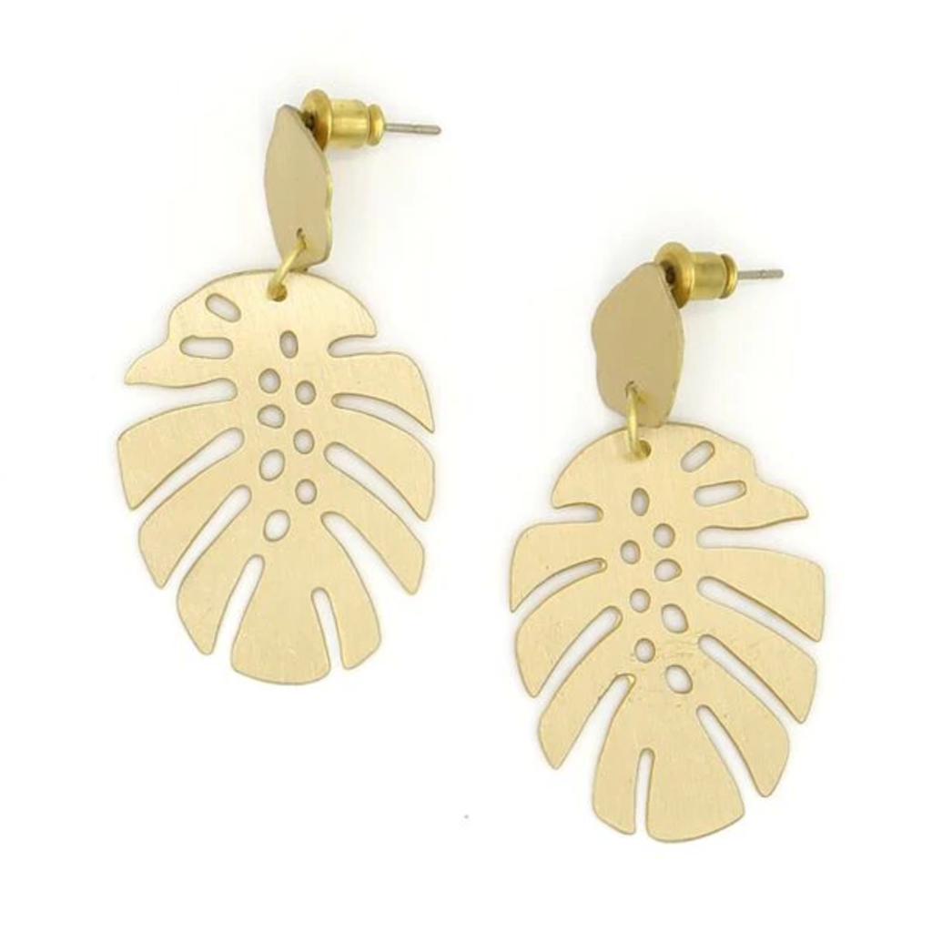 Fair Anita Monstera Brass Stud Earrings
