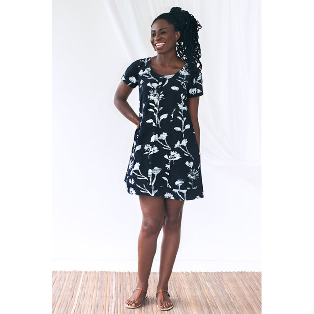 Global Mamas Black Wildflowers Button Front Organic Cotton Dress