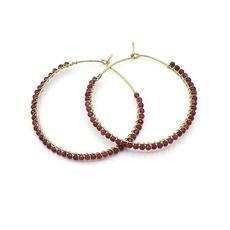 Fair Anita Wrapped Garnet Hoop Earrings