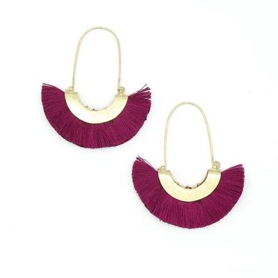 Fair Anita Magenta Fringe Hoop Earrings