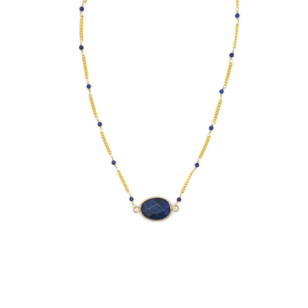 Fair Anita Luxe Lapis & Brass Necklace
