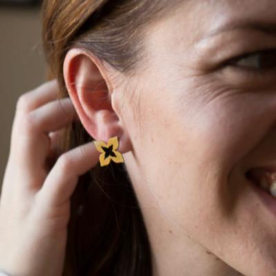 Fair Anita Wildflower Brass Stud Earrings