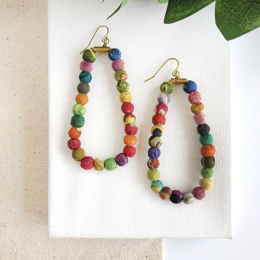 World Finds Kantha Oblong Hoop Earrings