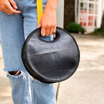 Global Crafts Recycled Tire Round Handbag