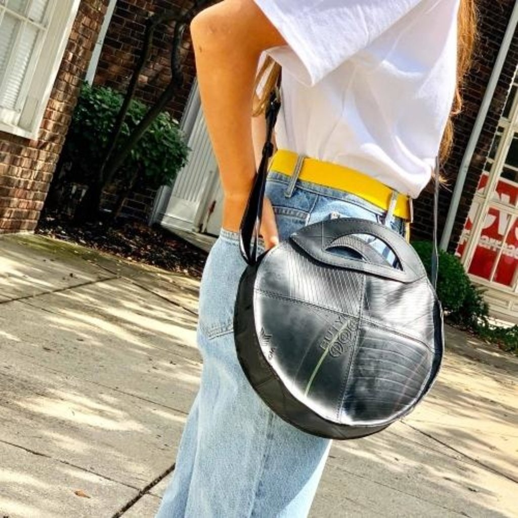Global Crafts Recycled Tire Round Shoulder Bag