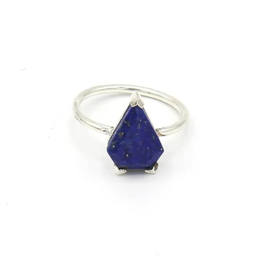 Fair Anita Pyramid Pronged Lapis Sterling Ring