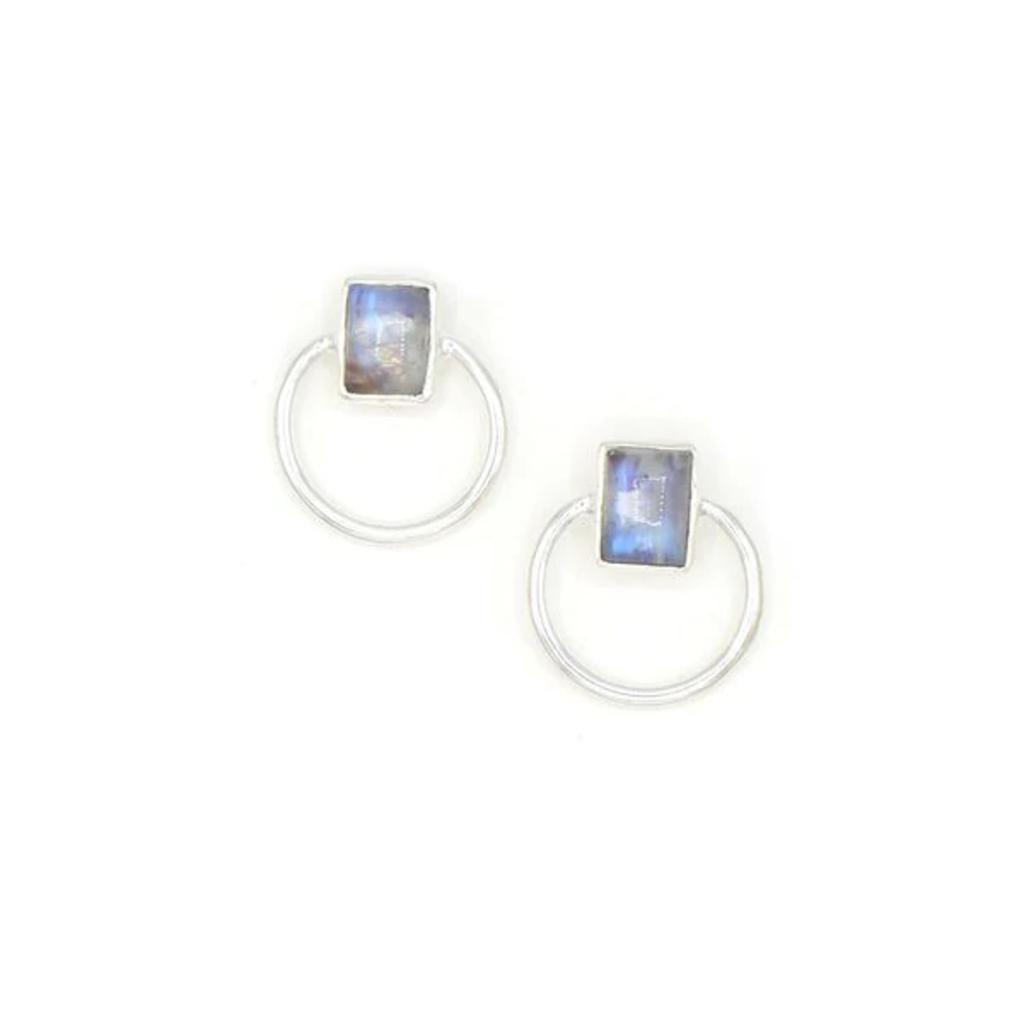 Fair Anita Midnight Loop Moonstone Stud Earrings