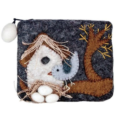DZI Handmade Nesting Bird Felted Wool Coin Purse