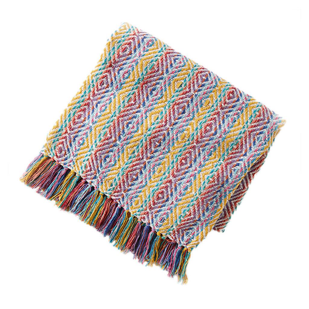 Serrv Cotton Rethread Rainbow Throw Blanket